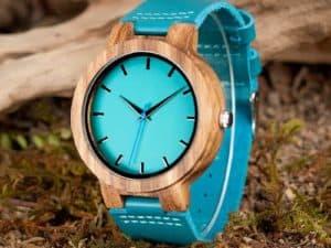 Montre à Quartz en bois Homme et Femme – Bracelet en cuir bleu – Hibiscus