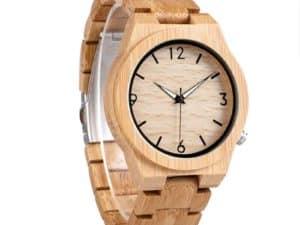 Montre à Quartz uni Homme et Femme – Bois de bambou – Bracelet en bois – Fait à la main – Laurier