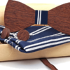 Coffret noeud papillon bouton tissu bleu nuit trait blanc