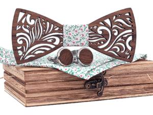 Coffret noeud papillon bois original – tissu – bouton de manchette – Panthere