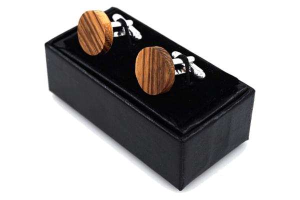 Coffret bouton de manchette bois clair rayé epais