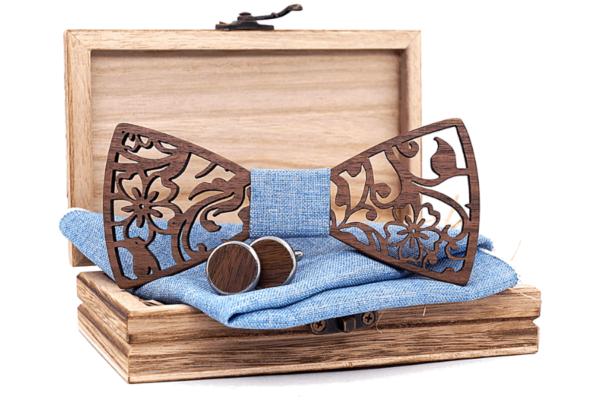 Coffret noeud papillon moderne bleu maya