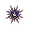 Broche fleur en bois Lys bleu nuit