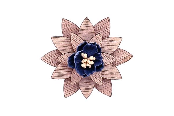 Broche fleur en bois Marguerite bleu nuit