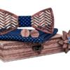 Coffret noeud papillon en bois Orque croix bleu nuit bleu ciel