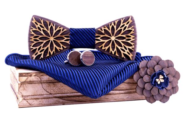 Coffret noeud papillon en bois Paon rayures bleu nuit