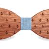 Noeud papillon en bois Requin bleu ciel