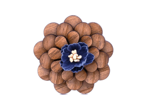 Broche fleur en bois – Sapin