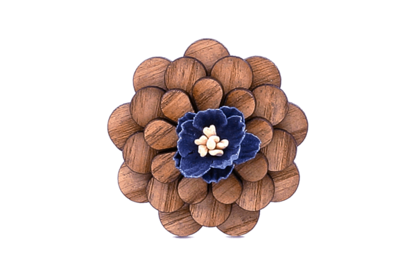 Broche en bois Sapin bleu nuit