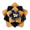 Broche fleur en bois Trèfle bleu nuit