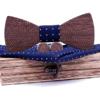 Coffret noeud papillon en bois Zèbre bleu nuit croix blanche
